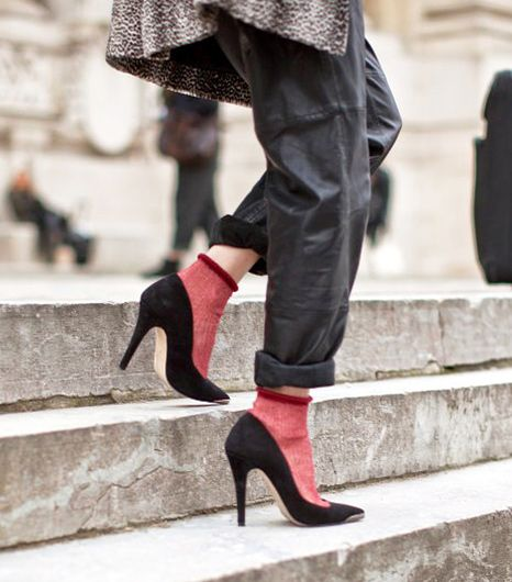 sock fashion, burgundy sheer socks, black stiletto pumps, socks-and-shoes-pumps-baggy-pants-via-whowhatwear