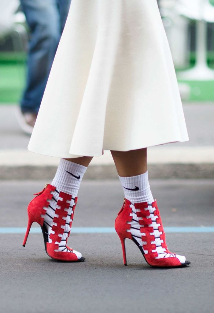 sock fashion, white nike socks, red statement shoes, closetfulofclothes, socks-and-shoes-nymag
