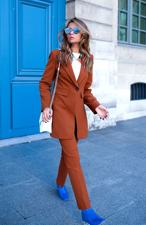 suiting, womens, rust trouser suit, single button closure, blue perspex heel ankle boot, fahionising