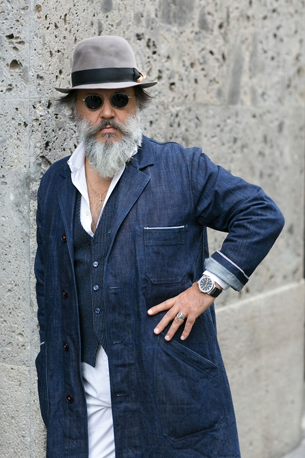 denim on denim, men, jacket_vest fashionisingMilanMenswearStreetStyleSS14