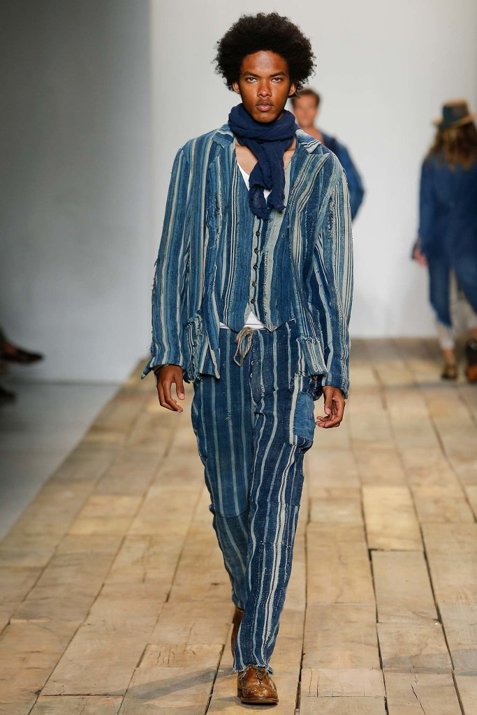 denim on denim, men, s16, striped, strip effect, match jacket_trouser greg lauren, voguecom