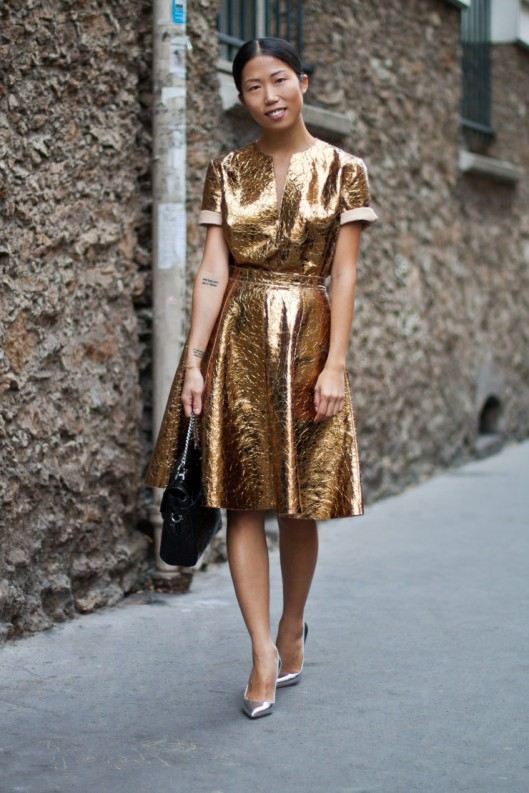 metallics, dress, bronze, crushed fabrication, fashionforwomancom