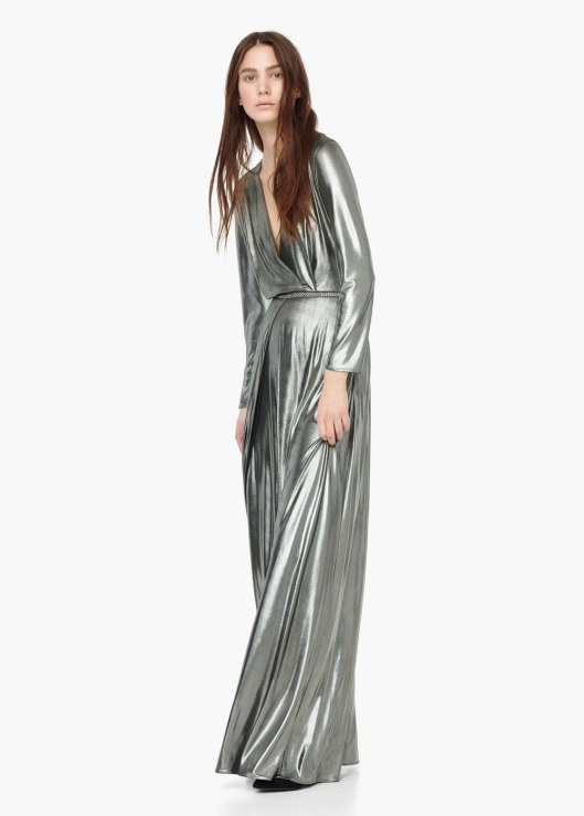 metallics, maxi dress, silver, mangocom
