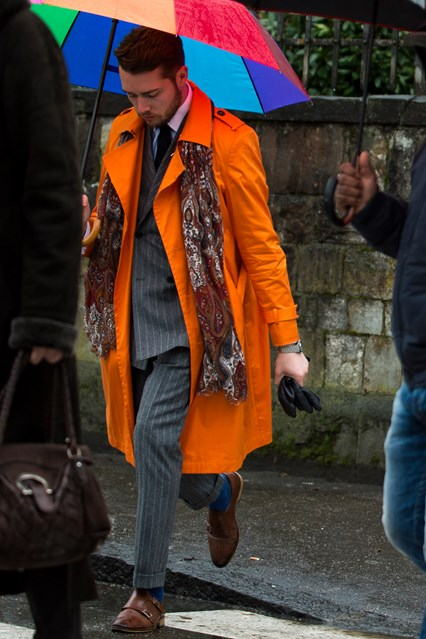 pitti uomo street, bright orange coat, gqmag Pitti-Street-Style-15-GQ-15Jan16