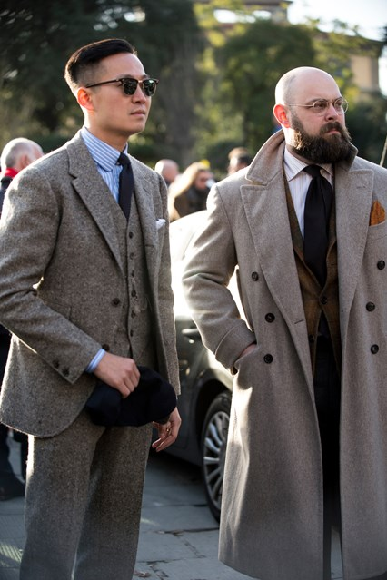 pitti uomo street, classic suiting, gq