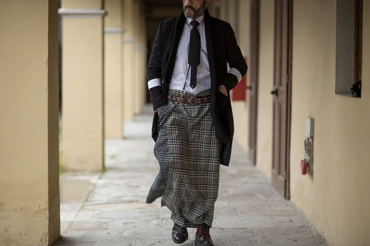 pitti-uomo street, plaid pattern skirt, highsnobiety -