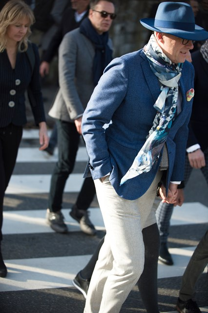 pitti uomo street, winter whites (trousers, with slate blue accents gq Pitti-Street-Style-