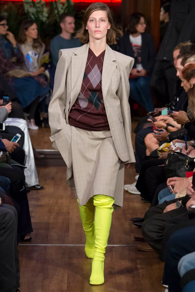 shoe spotlight, electric lime-green over the knee boots, vetements, s16, vogue_