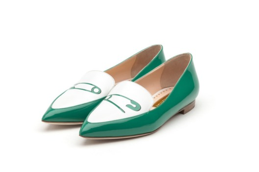 shoe spotlight, s16, flats, safety pin, white_green, rupert-sanderson, footwearnewscom -shoes-spring-2016-