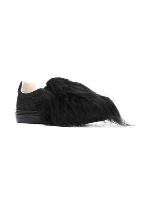 shoes spotlight, slip on trainers, faux fur, maison margiela, farfetchcom