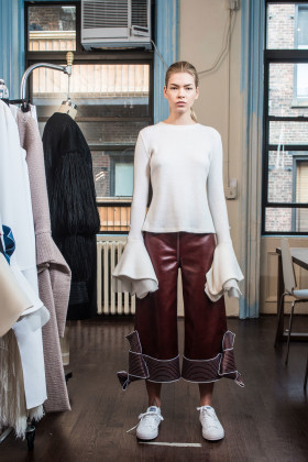 Claudia-Li-, a 2016 super length sleeve, brown trousers, bow hem, wmagazine