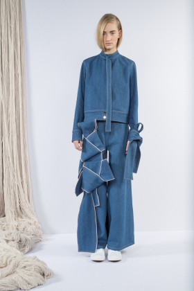 claudia li, soft denim, strap detail on trouser, wmag,