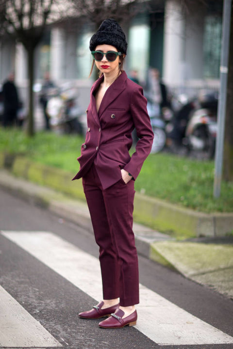 colour commit, burgundy, lady, trouser suit_ shoes, diego zuko