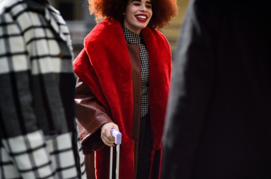 colour commit, ladies, red brick, hair, lips, coat, wmagazine,  Le-21eme-Adam-Katz-Sinding-