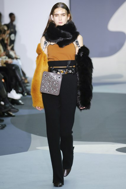 lfw, f16, Toga, faux fur sleeves held up by braces, vogue