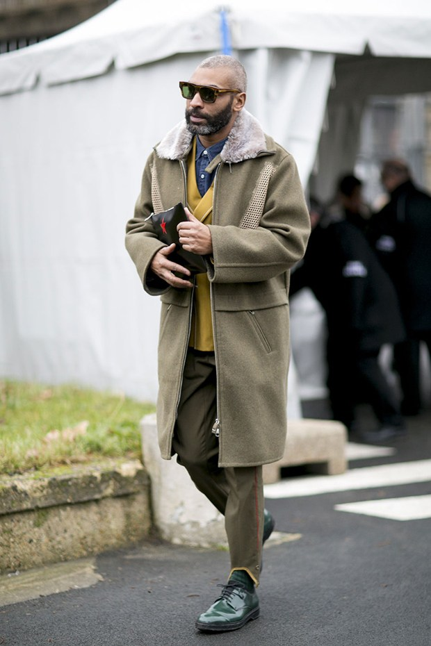men, olive green and hint of mustard ensemble, fashionising