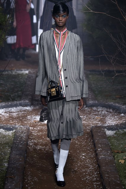NYFW, a16, skirt suiting, flapperesque, thom browne