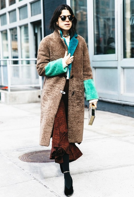the look, coat, textural, brown teddy with mint-green sleeve cuffs, www