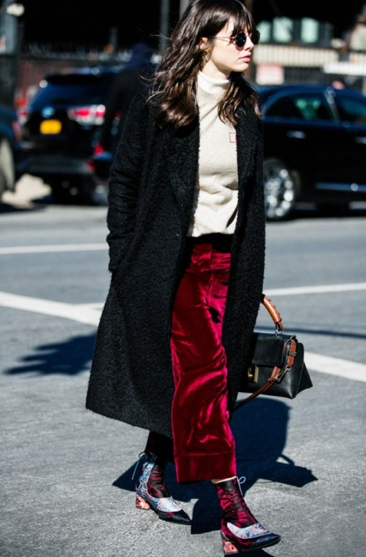 the look, trousers, burgundy red crushed velvet trousrs, www
