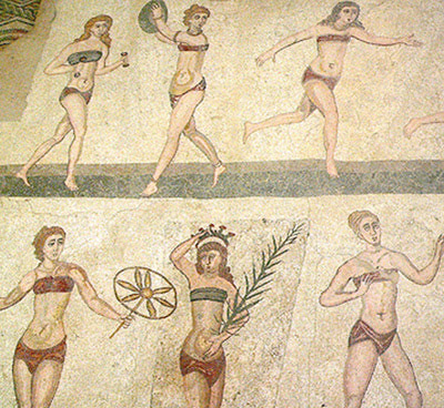 underwear, va, medieval breast bands, historymedren.about.com., mosaic of women athleteswomenathletes