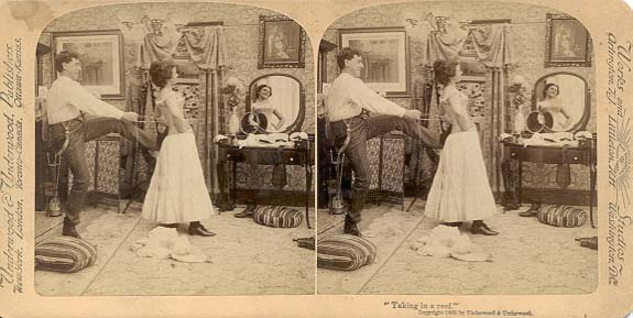 underwear, va, Victorian woman being laced into coreset, ntlworld.com
