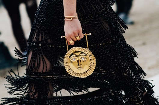 accessories, how to gold medallion purse, sun dial, vogue uk
