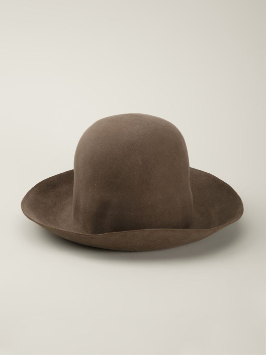 horisaki-hats, felt hat in brown, lyst.com audesign-handel-brown-elevated-felt-hat-product