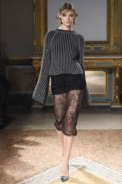 mfw, a16, long length sleeves, lace skirt, Les Copains, vogue uk K