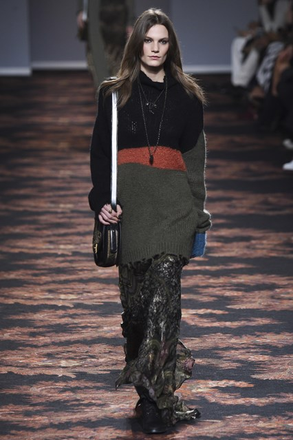 mfw, a16, mixed fabrication, oversize jumper, silk long length skirt, etro