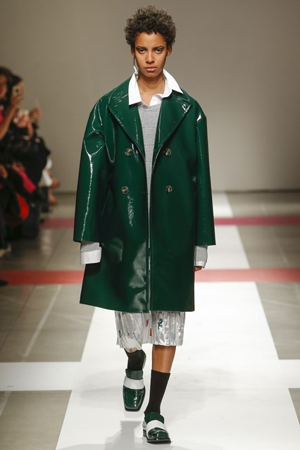 mfw, f16, green patent leather double breast coat, matching slip on shoes, Iceberg
