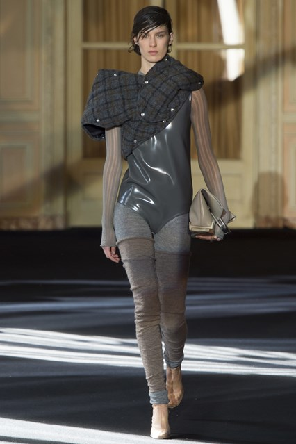 pfw, a16, acne studios, latex body suit, one shoulder tartan outerwear, vogue