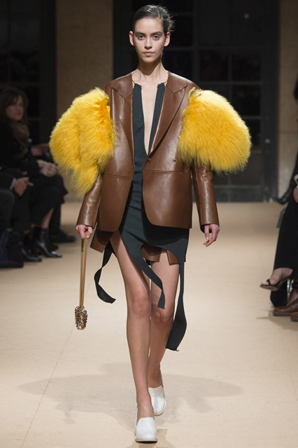 pfw, a16, esteban cortazar, leather blazer yellow fuzzy wuzzy sleeves,