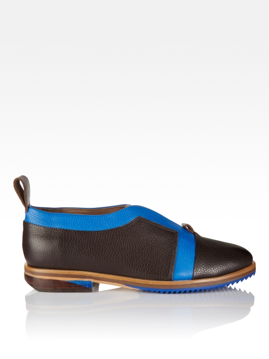 shoe crush, flats, coffee_ blue colour block, wood heels, blue corrugated sole, froms finsk, njal pair_