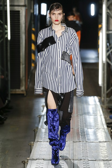 shoe crush, knee high blue velvet boots, MSGM vogue uk