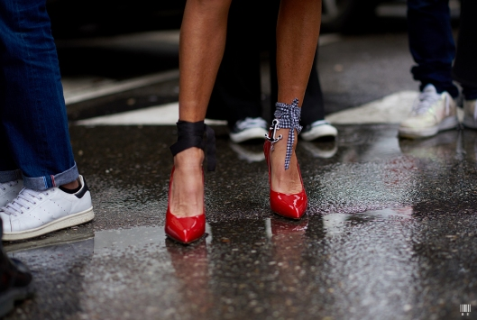 shoe crush, red patent leather pumpbs, ankle adornments, before sunrise