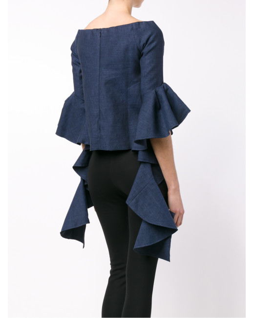 gotta have it, ellery-navy-ruffle-sleeve-delores-top-blue-product