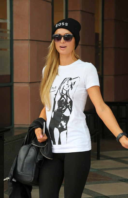 Paris Hilton wears a t-shirt with her own image on it